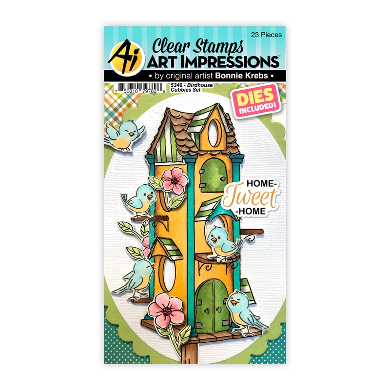 Art Impressions BIRDHOUSE CUBBIES Clear Stamps and Dies 5346 zoom image