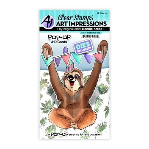 Art Impressions SLOTH POP-UPS Clear Stamps and Dies 5357 Preview Image