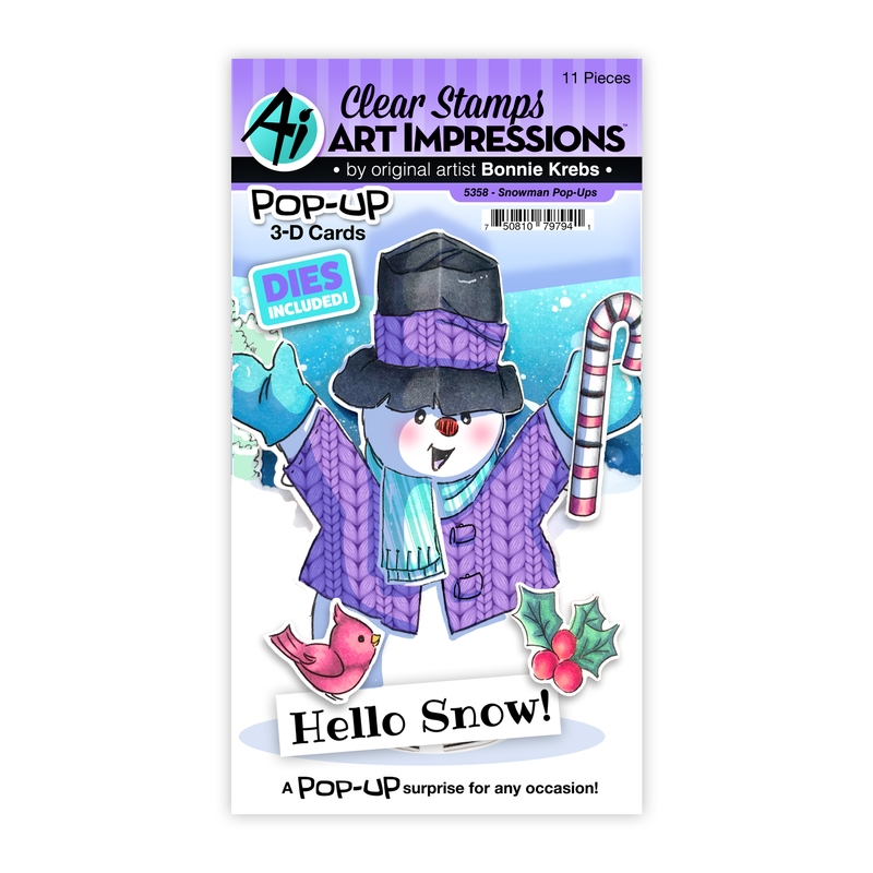Art Impressions SNOWMAN POP-UPS Clear Stamps and Dies 5358 zoom image