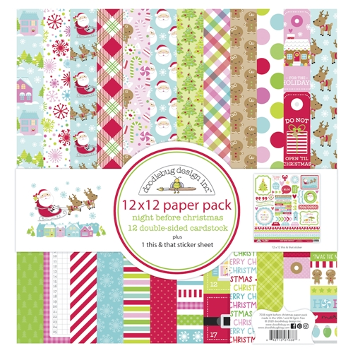 Doodlebug NIGHT BEFORE CHRISTMAS 12x12 Inch Paper Pack 7038 Preview Image