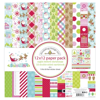 Doodlebug NIGHT BEFORE CHRISTMAS 12x12 Inch Paper Pack 7038