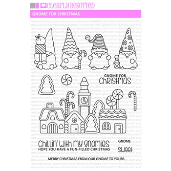 Clearly Besotted GNOME FOR CHRISTMAS Clear Stamps