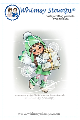 Whimsy Stamps FAIRY THOUGHTFUL Cling Stamp C1369 zoom image