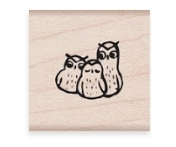 Hero Arts Rubber Stamp THREE WISE OWLS A6435 zoom image