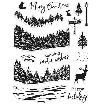 Hero Arts Clear Stamps WINTER WOODS HEROSCAPE CM491