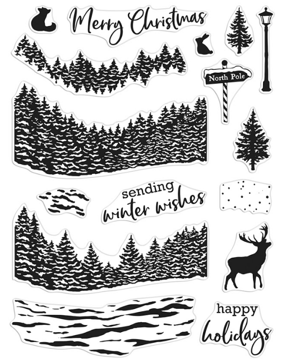 Hero Arts Clear Stamps WINTER WOODS HEROSCAPE CM491 zoom image