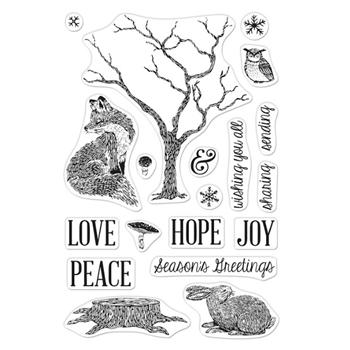 Hero Arts Clear Stamps WINTER TREE AND ANIMALS CM490