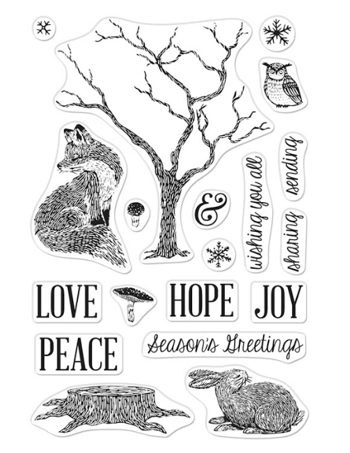 Hero Arts Winter Tree and Animals Stamp Set