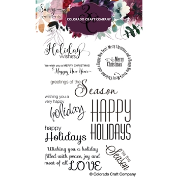 Colorado Craft Company Savvy Sentiments HOLIDAY WISHES Clear Stamps SS366