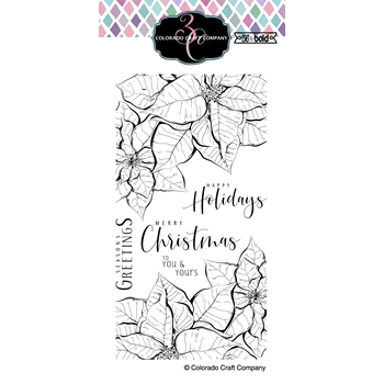 Colorado Craft Company Big and Bold SLIMLINE POINSETTIA Clear Stamps BB393