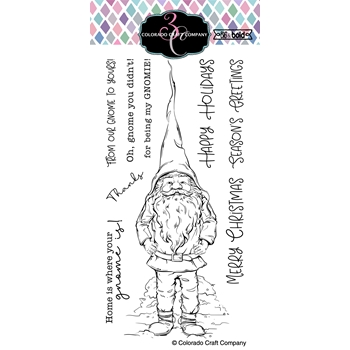 Colorado Craft Company Big and Bold SLIMLINE GNOME Clear Stamps BB364