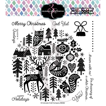 Colorado Craft Company Big and Bold NORDIC ORNAMENT Clear Stamps BB362