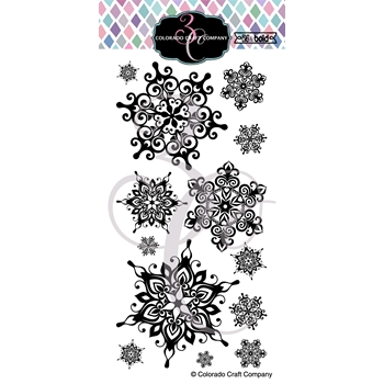 Colorado Craft Company Big and Bold NORDIC SNOWFLAKE Clear Stamps BB350