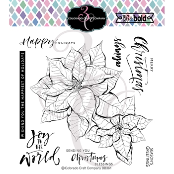 Colorado Craft Company Big and Bold POINSETTIA BLESSINGS Clear Stamps BB361