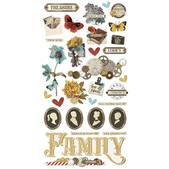 Simple Stories VINTAGE ANCESTRY 6 x 12 Chipboard Stickers 14120