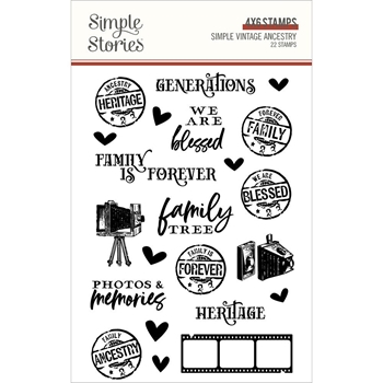 Simple Stories VINTAGE ANCESTRY Clear Stamp Set 14130