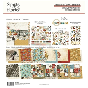 Simple Stories VINTAGE ANCESTRY 12 x 12 Collector's Essential Kit 14132