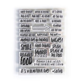 Elizabeth Craft Designs Clear Stamps VACAY PHRASES cs192