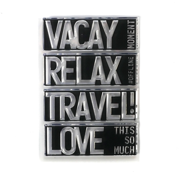 Elizabeth Craft Designs Clear Stamps BLOCK WORDS TRAVEL cs193