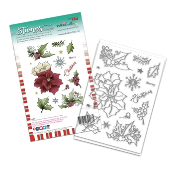Polkadoodles MERRY CHRISTMAS POINSETTIA Clear Stamps pd8093a