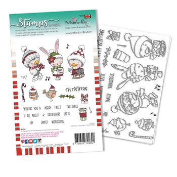 Polkadoodles LATTE CHRISTMAS TWEETINGS Clear Stamps pd8094a