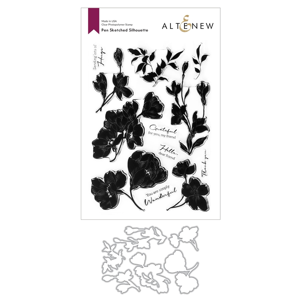 Altenew PEN SKETCHED SILHOUETTE Clear Stamp and Die Bundle ALT4599BN zoom image
