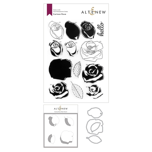 Altenew CARTOON ROSE Clear Stamp, Die and Mask Stencil Bundle ALT4587 Preview Image
