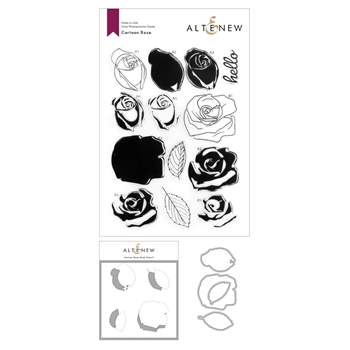 Altenew CARTOON ROSE Clear Stamp, Die and Mask Stencil Bundle ALT4587