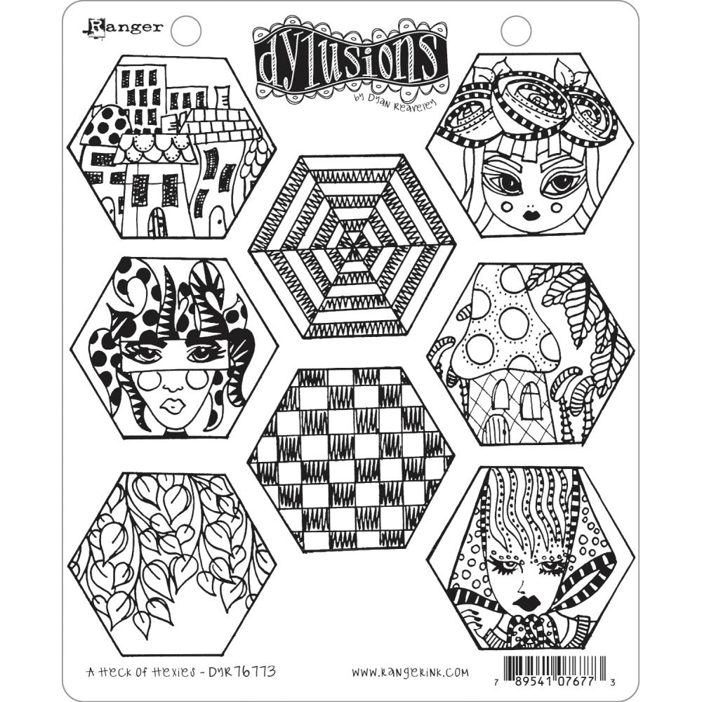 Dyan Reaveley A HECK OF HEXIES Cling Stamp Set Dylusions DYR76773 zoom image