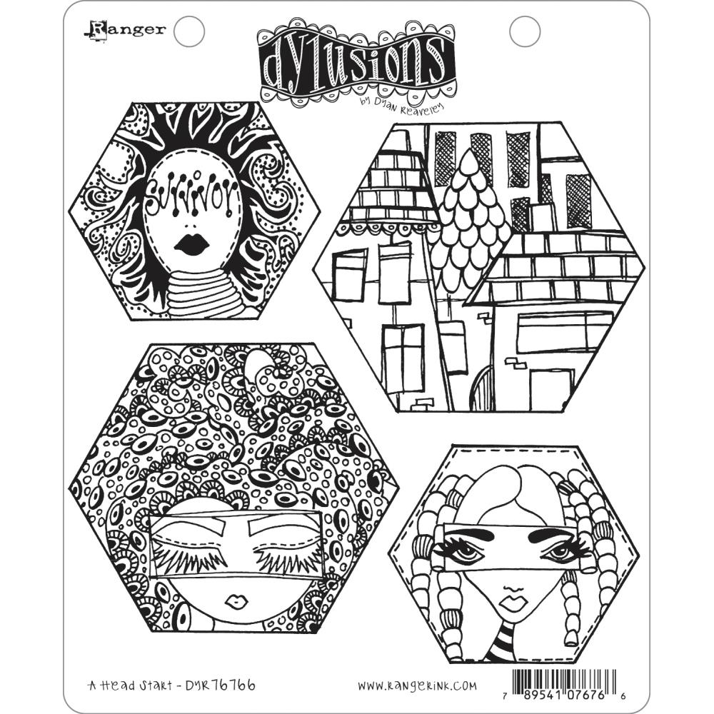 Dyan Reaveley A HEAD START Cling Stamp Set Dylusions DYR76766 zoom image