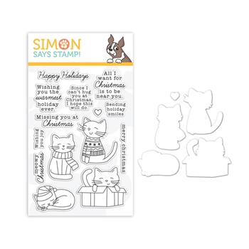 Simon Says Stamps and Dies CHRISTMAS KITTIES set364ck Holly Jolly