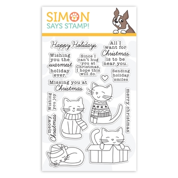 Simon Says Clear Stamps CHRISTMAS KITTIES sss302229c Holly Jolly