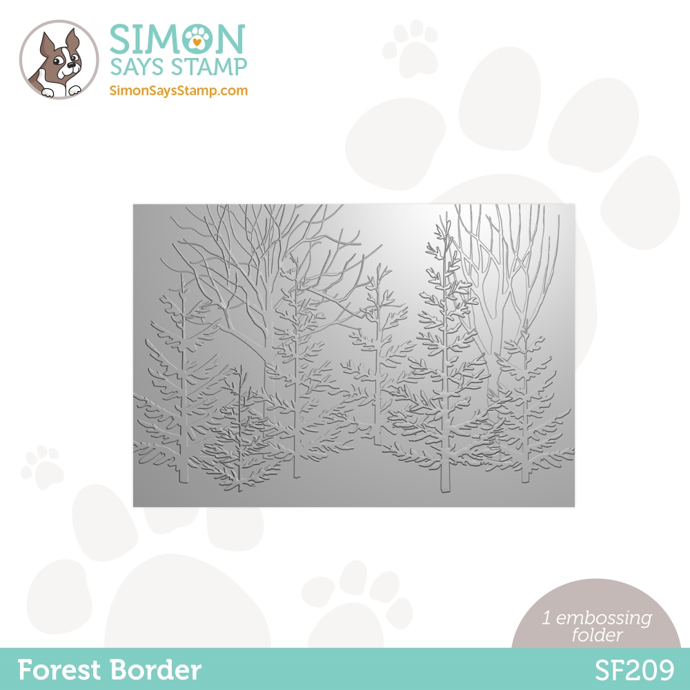 Simon Says Stamp Embossing Folder FOREST BORDER sf209 Holly Jolly zoom image