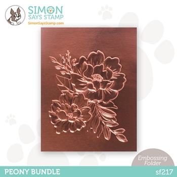 Simon Says Stamp Embossing Folder PEONY BUNDLE sf217 Holly Jolly