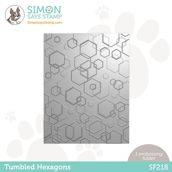Simon Says Stamp Embossing Folder TUMBLED HEXAGONS sf218 Holly Jolly **