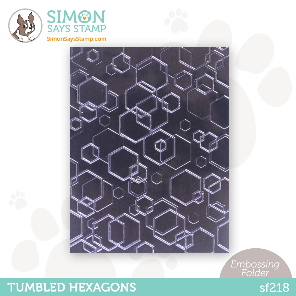 Simon Says Stamp Embossing Folder TUMBLED HEXAGONS sf218 Holly Jolly zoom image