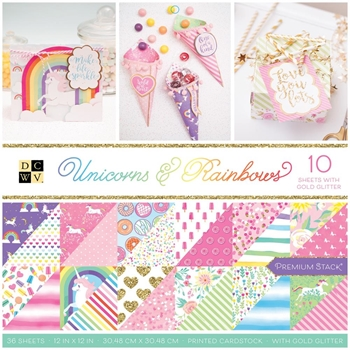 DCWV 12 x 12 UNICORNS AND RAINBOWS Premium Cardstock PS 005 00634