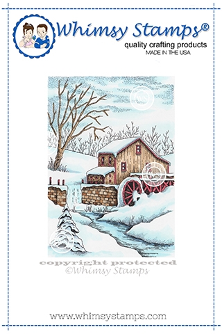 Whimsy Stamps SNOWY WATERMILL Cling Stamps DA1152 Preview Image