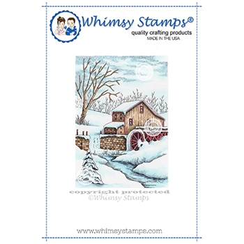 Whimsy Stamps SNOWY WATERMILL Cling Stamps DA1152