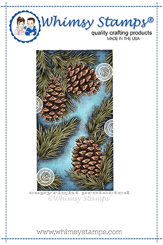 Whimsy Stamps PINE BOUGH Background Cling Stamp DA1151 Preview Image