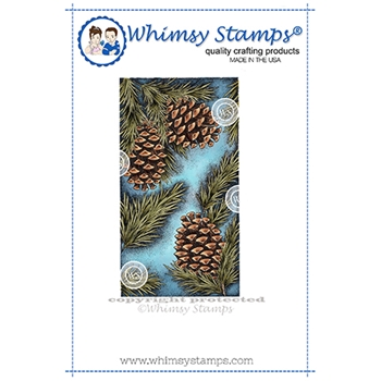 Whimsy Stamps PINE BOUGH Background Cling Stamp DA1151