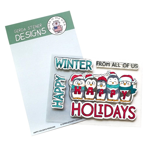 Gerda Steiner Designs HAPPY HOLIDAY PENGUIN Clear Stamp Set gsd737 Preview Image