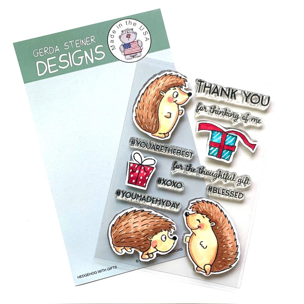 Gerda Steiner Designs HEDGEHOG WITH GIFTS Clear Stamp Set gsd739 zoom image