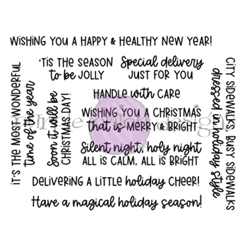 Purple Onion Designs HOLIDAY MESSAGES SENTIMENT Cling Stamp Set pod9011