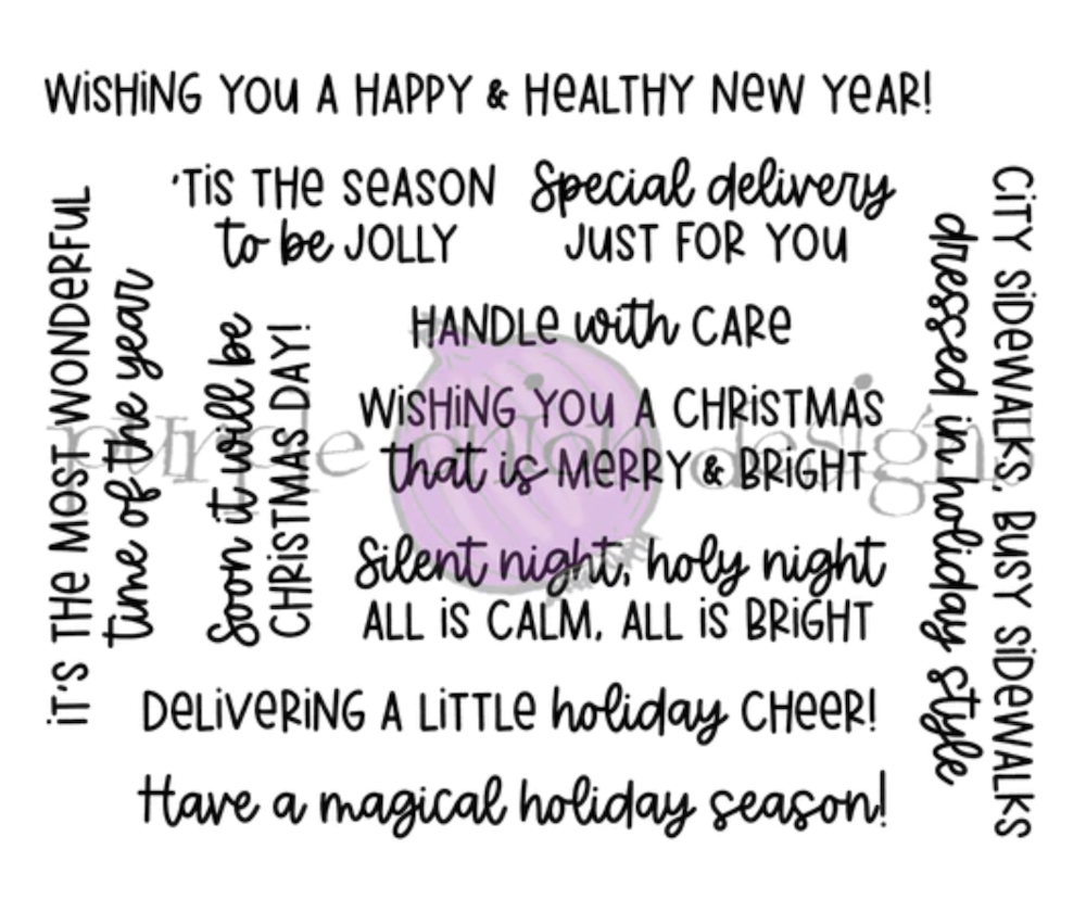 Purple Onion Designs HOLIDAY MESSAGES SENTIMENT Cling Stamp Set pod9011 zoom image