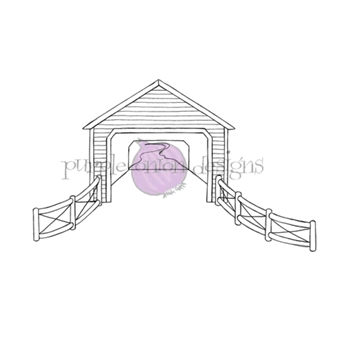 Purple Onion Designs COVERED BRIDGE Cling Stamp pod1209