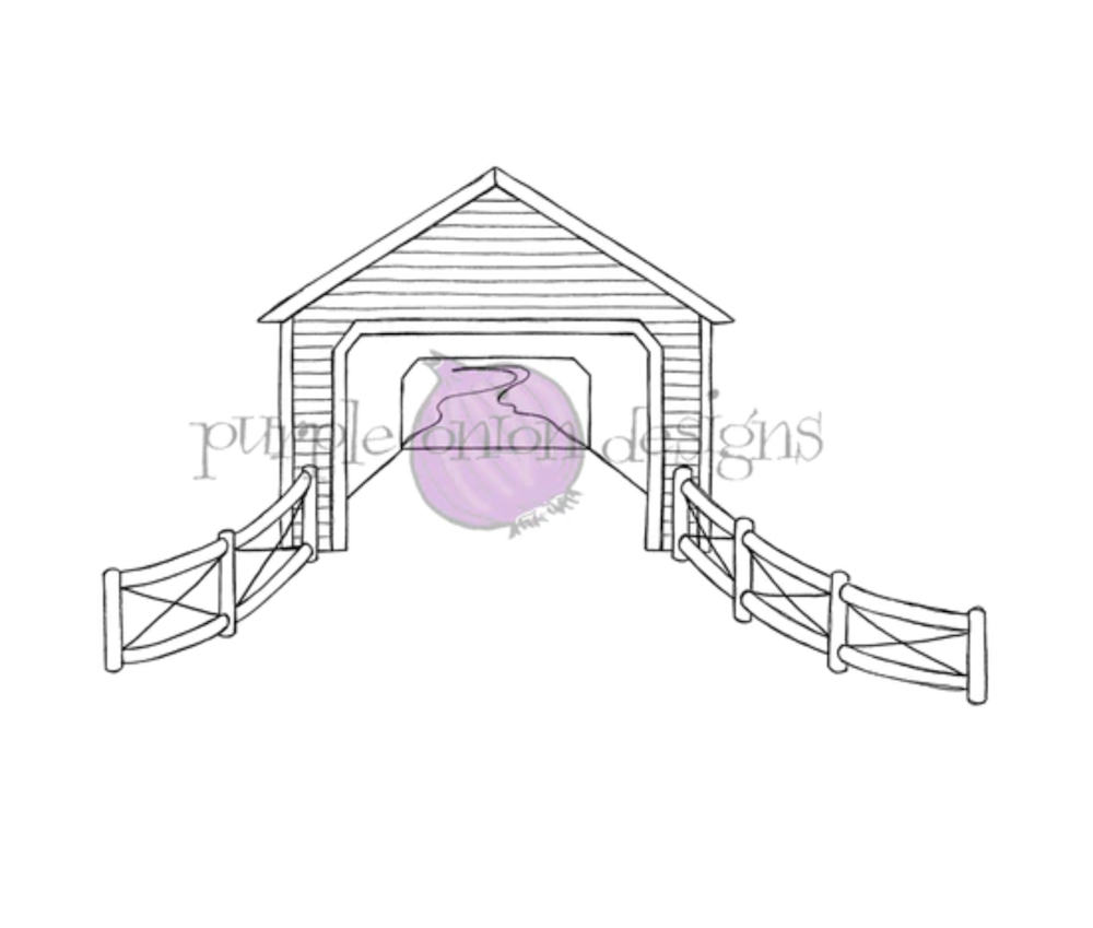 Purple Onion Designs COVERED BRIDGE Cling Stamp pod1209 zoom image