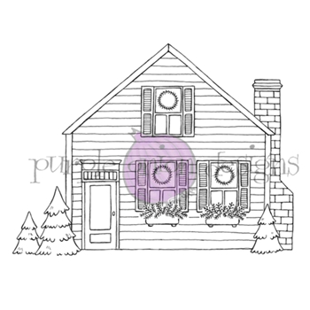 Purple Onion Designs COZY HOLIDAY HOME Cling Stamp pod1208