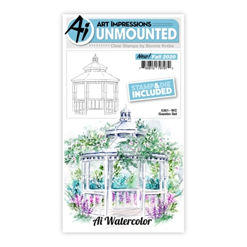 Art Impressions Watercolor GAZEBO Clear Stamps and Dies 5361