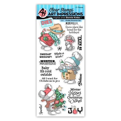 Art Impressions CHUBBY SNOWMAN Clear Stamp and Die Set 5351 Preview Image